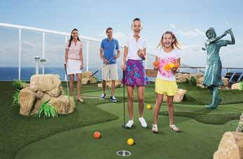 Family playing golf on cruise ship