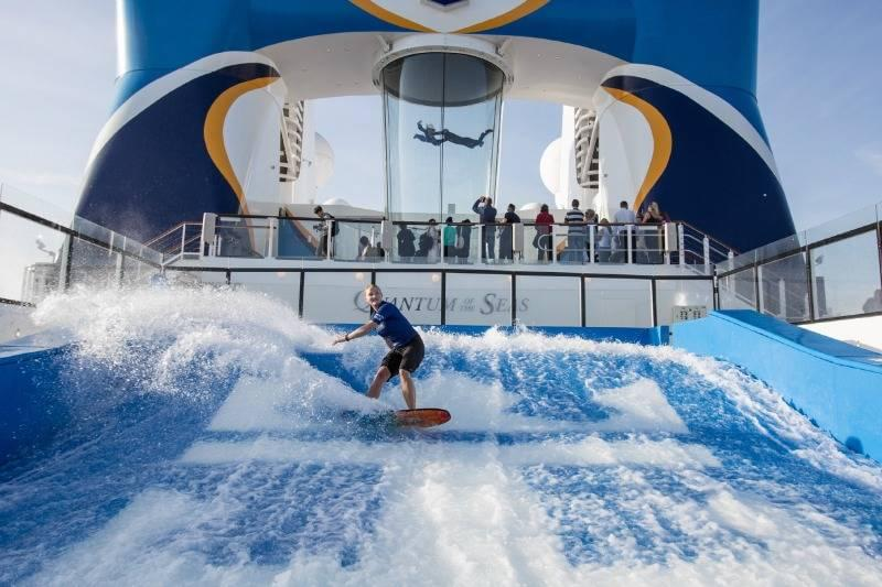 Surfing and skydiving on a Royal Caribbean ship