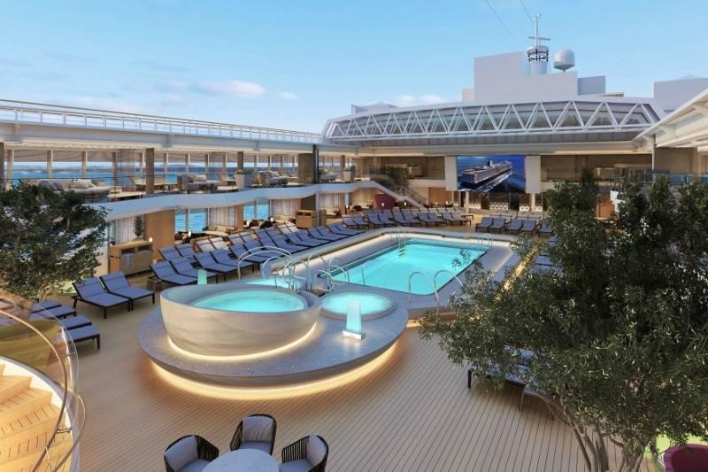 Pool area on the new Koningsdam cruise ship