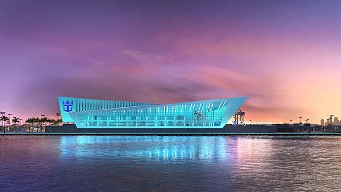 Royal Caribbean Miami cruise port lit up