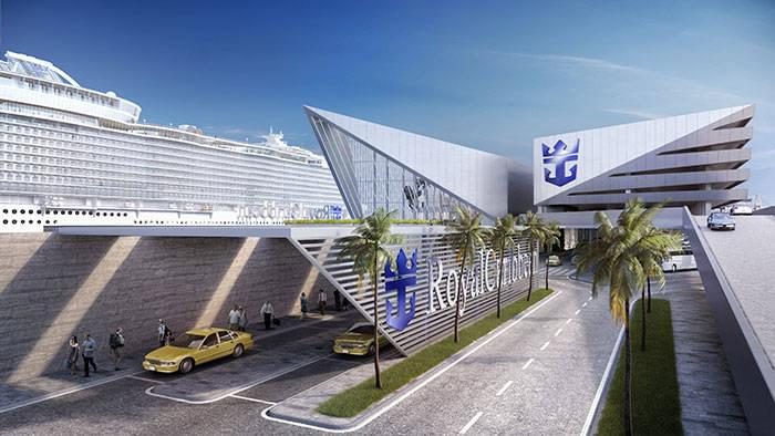 Royal Caribbean logo on Miami cruise port