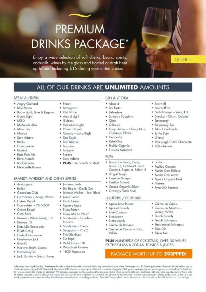Drinks included with Norwegian Premium Drinks Package