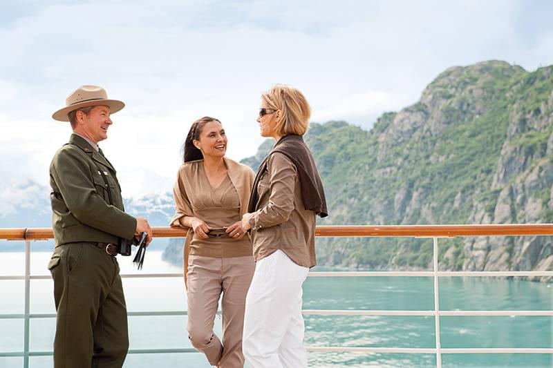 Alaska National Park Ranger chatting with cruisers
